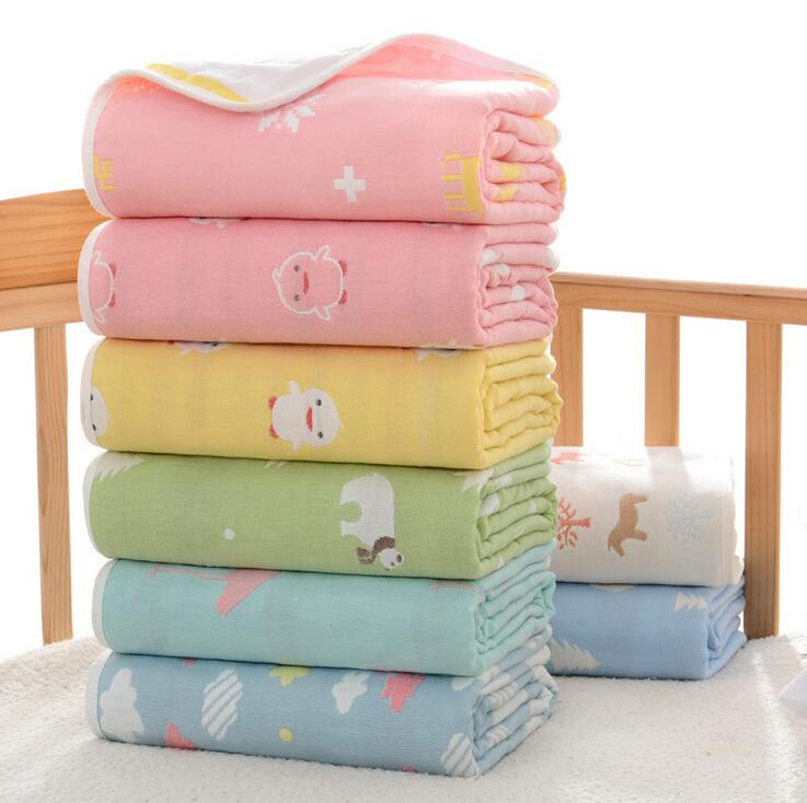 NEW 6 Layer Genuine Baby Blanket Baby Swaddle  110*110CM Wrap Newborn Super Soft Kids Bedding Diaper YMYJ4808