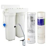 Coronwater أنظمة تصفية المياه المطبخ المزدوج undersink ترشيح المياه المنزلية 5 ميكرون و جوز الهند الكربون المنشط
