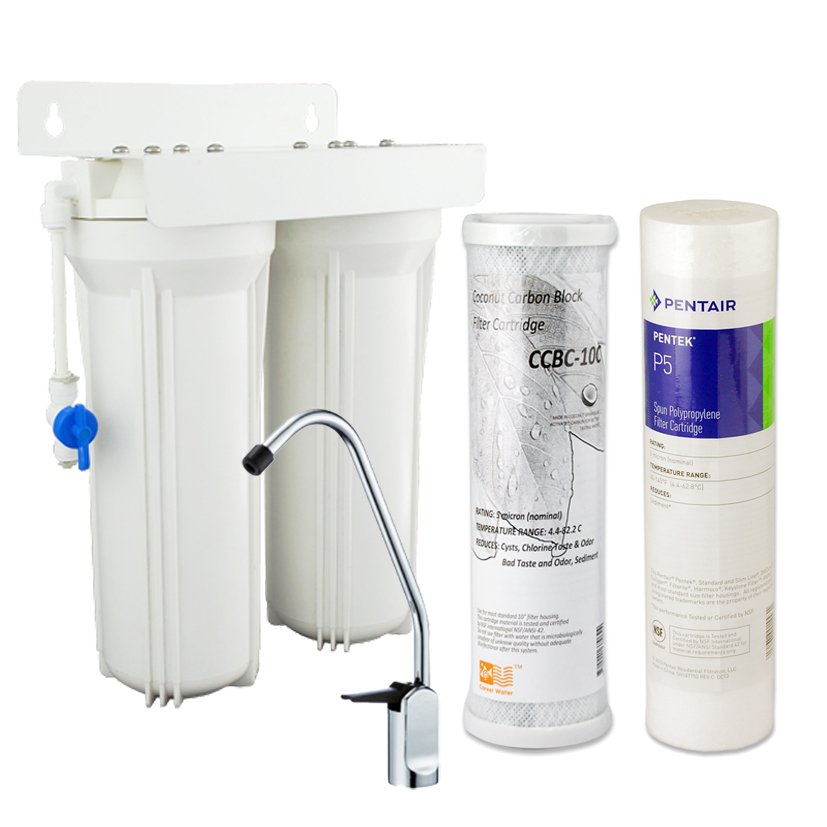 Coronwater Household Dual Undersink Water Filter Systems Kitchen Water Filtration 5 micron and Coconut Activated Carbon