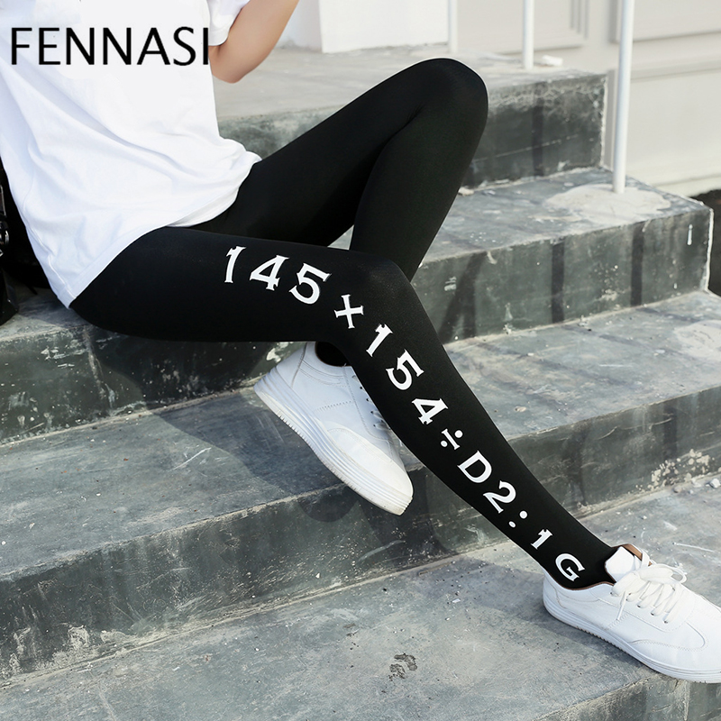 FENNASI Super Elastic Magical Tights Women Seamless Sexy Black 120D Pantyhose Ladies Letter printing Tights Slim Breathable