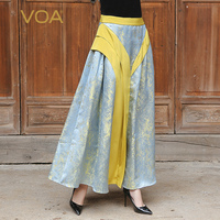 VOA 2017 Summer Silver Grey Luxury Vintage Chinese Style Silk Jacquard Long Skirt Plus Size Mid
