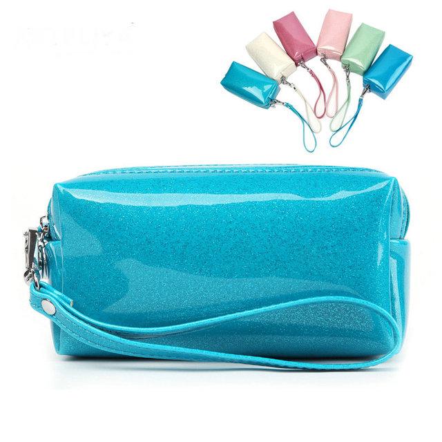 Bling del Color del caramelo de Charol bolsa de Viaje bolsas de Cosméticos Mujeres necessaries Maquillaje organizador del artículo de tocador maquillaje bolsa bolsa de embrague