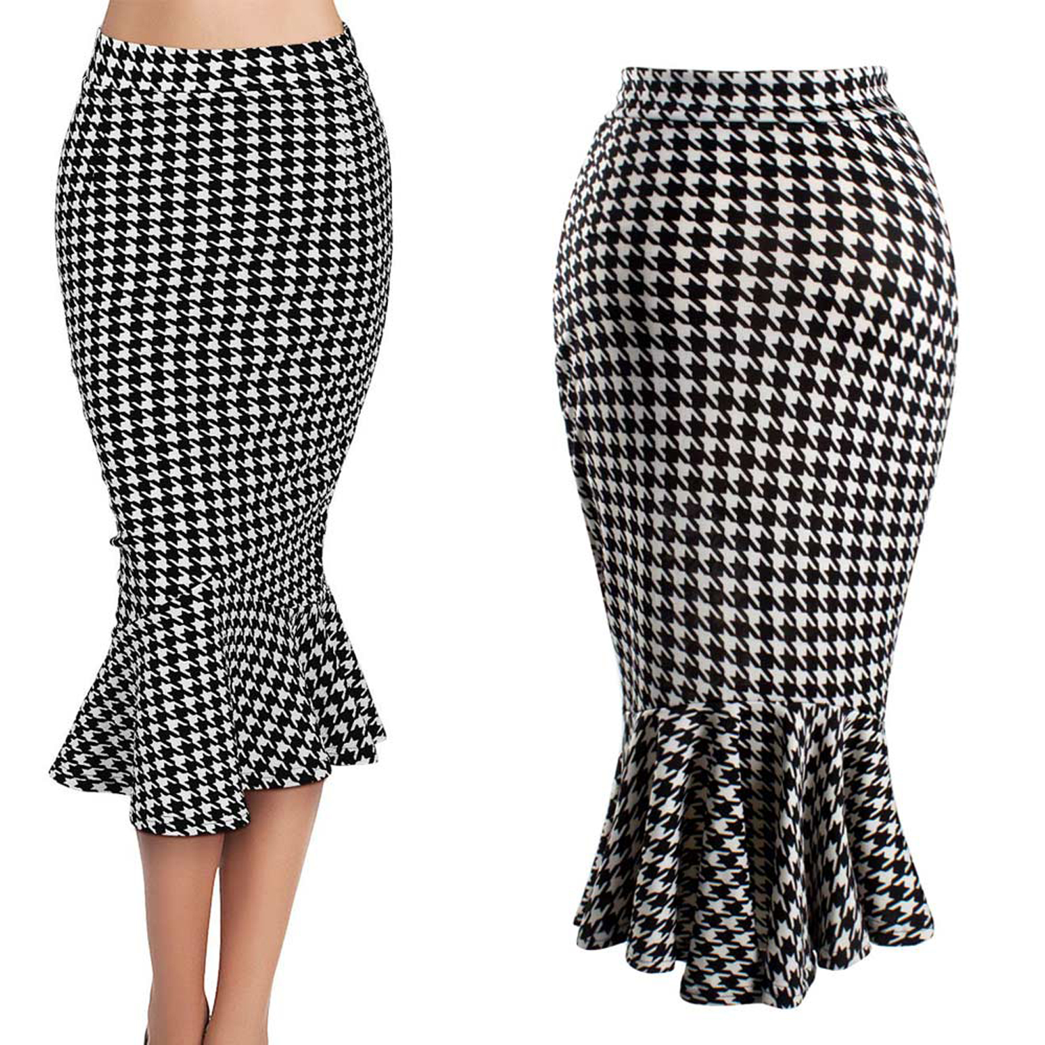 Popular Houndstooth Pencil Skirt-Buy Cheap Houndstooth Pencil ...