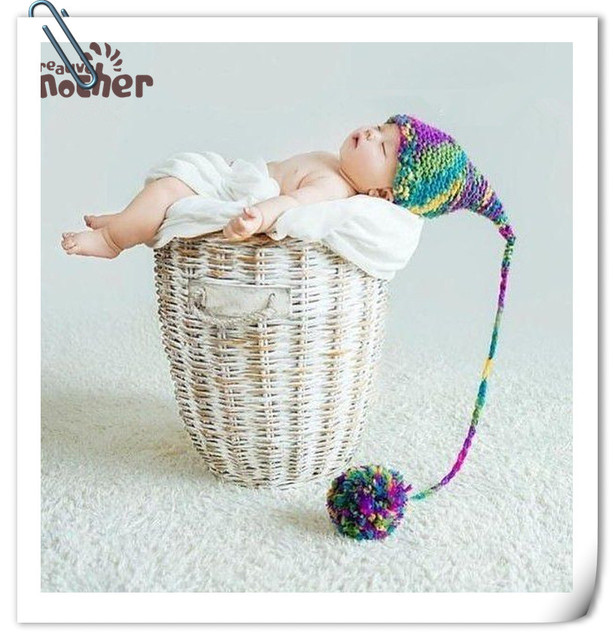 Creative mother brand children photography accessories cotton hat studio baby shoot knitting long cap newborn fotografia