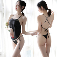 Sexy apron lingerie maid erotic underwear hanging neck strap sexy hot woman classical embroidery black pajamas