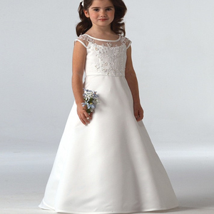 Image 3 - Hot Sale Elegant satin Flower Girl Dresses Appliques Long Princess Party Pageant First Communion Dresses