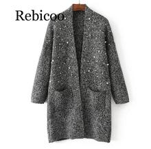 2019 Women New Arrival Pearl Beading Long Cardigans Mohair Soft Warm Winter Knit Sweaters