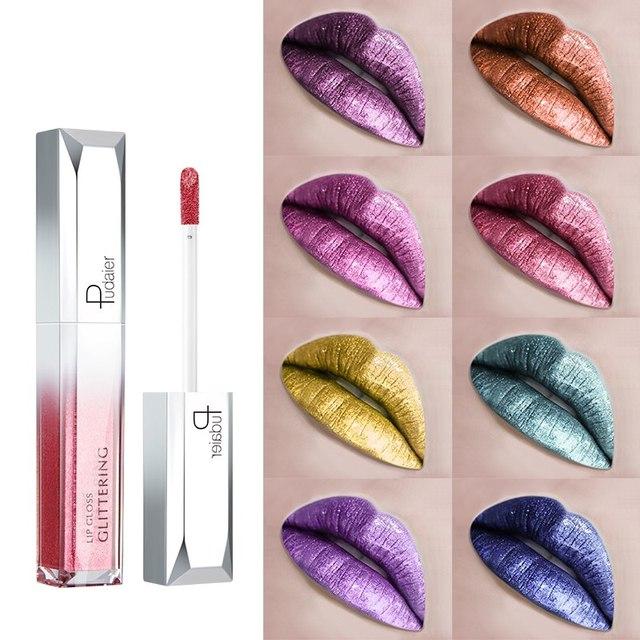 Pudaier 18 colores metálico líquido brillo de labios lápiz labial brillo de larga impermeable de LastingCosmetics brillo labios tinte maquillaje TSLM2