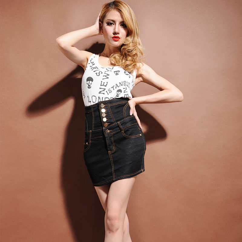 2388fb92284 Sokotoo Women s buttons sashes ultra high waist denim skirt Lady s plus  large size above knee mini skirt Female Free shipping-in Skirts from Women s  ...