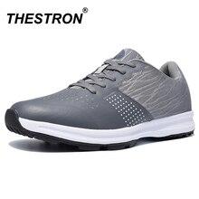 Thestron мужские туфли для гольфа удобные дышащие мужские водонепроницаемые кроссовки для тренировок в гольф Черные Серые Нескользящие уличные спортивные туфли