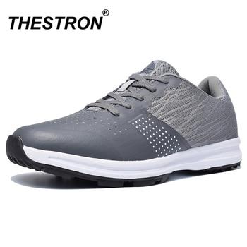 Thestron Men Golf Shoes Comfortable Breathable Men's Waterproof Golf Training Sneakers Black Gray Anti Slip Outdoor Sport Shoes кремфлюид для лица для нормальной кожи 50 мл oz organiczone сыворотки и флюиды