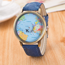 цены By plane Global Travel Map Men Watches Fashion Casual Women Watch Denim Fabric Leather Band Sports Quartz Watches Relogio Clock