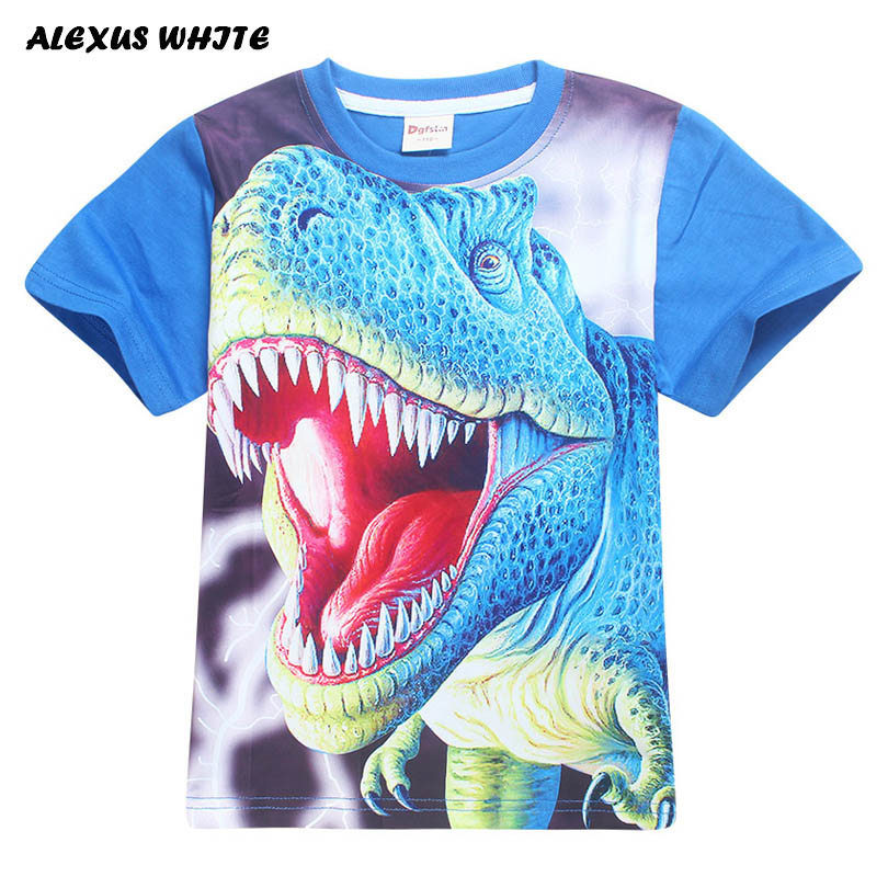 Girl Boy T Shirts Teenage Children Cotton Summer Dinosaur Print T-Shirts Kids Clothes Short Sleeve Tops Tees 4 6 8 11 12 Year стоимость