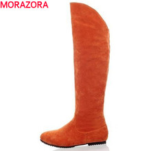 Plus size 34-45 flat heels knee high boots fashion sexy Nubuck  Leather winter snow casual boots shoes winter