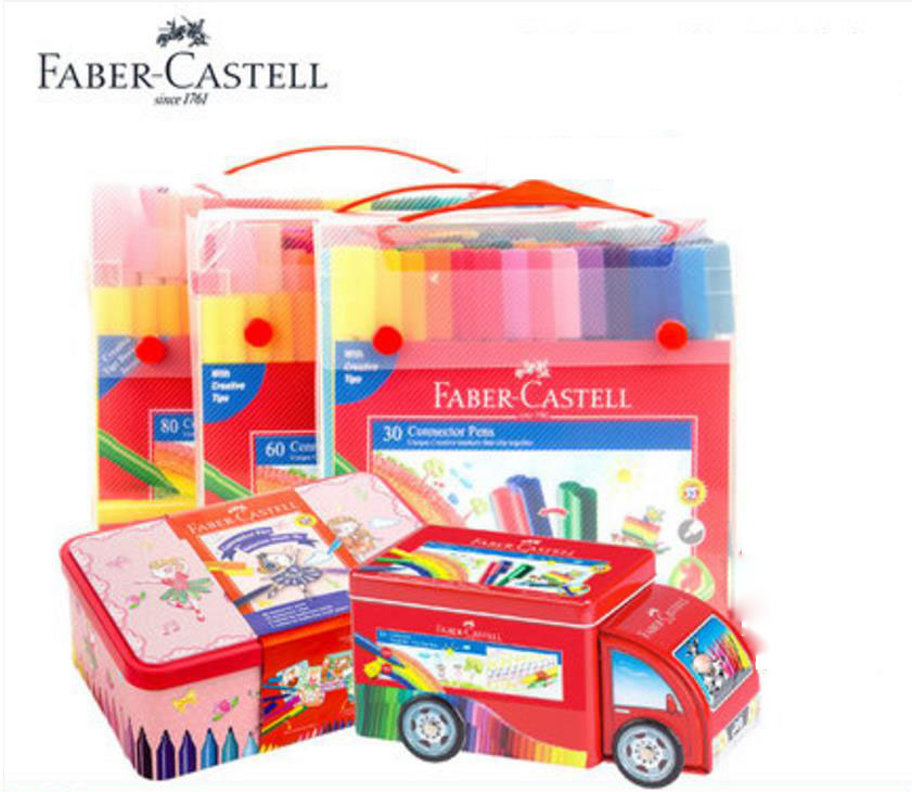Faber castell 20/30/33/60/80 colors Art Marker fibre-tip watercolor connector pen for kids gift playing painting ht1710004 faber castell 30 colors cute creative colorful crayons connector watercolor gel pen for drawing art stationery supplies