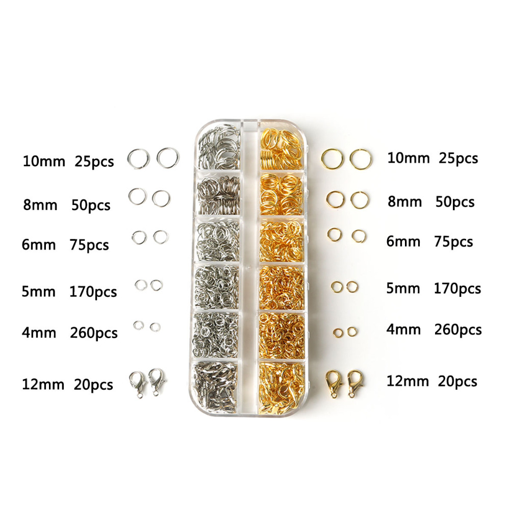 Gold/Silver Mixed Multi-Size Jump Ring Jewelry Findings Kit Lobster Clasp DIY Jewelry Findings Beads Kit for Jewelry DIY Making(China)