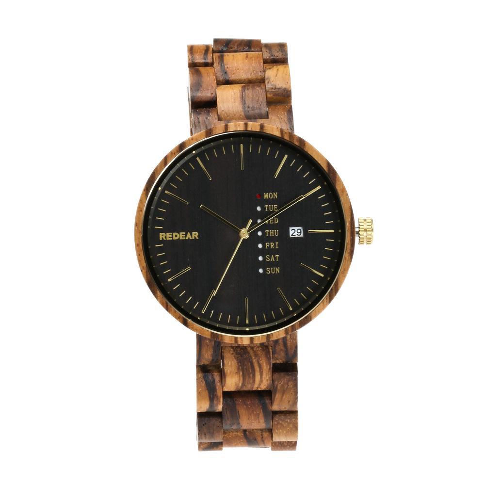 REDEAR Top Brand Zebra Wood Watch Men Watch Fashion Auto Date Week Men's Watch Unique Wooden Wrist watches saat reloj hombre цена
