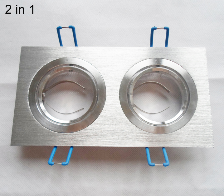 DHL 50*double led down light fixture 2 IN 1 frame bracket edge for MR16 brim for GU10 aluminum square lamp cup fittings silver