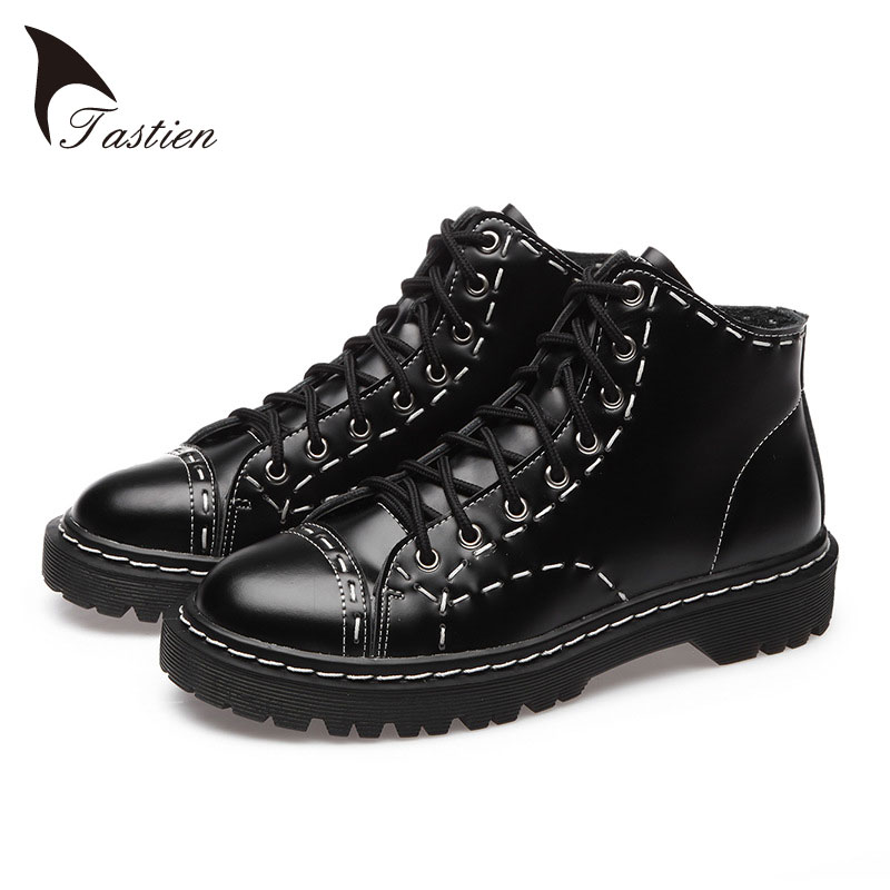 ФОТО TASTIEN New Arrival Fashion Women Flats Shoes 2017 Top Quality Genuine Leather Women  Shoes Solid Black Casual Shoes Big Size