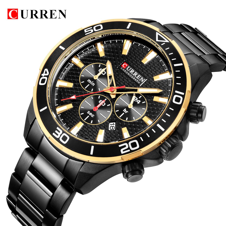 купить Luxury Men Business Quartz Wrist Watch CURREN Men Stainless Steel Waterproof Chronograph Military Sport Watch Clock New недорого
