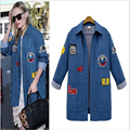 2017 New Style Women Coats turndown collar Long Sleeve  Denim jacket Long women jacket Plus Size 5XL  casaco feminino  L455