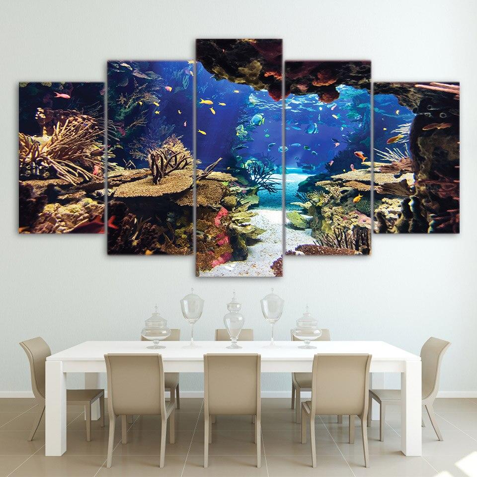 US $5.71 40% di SCONTO Moderno HD Muro Stampato Art Cornice Quadri Su Tela  5 Pezzi Mondo Sottomarino Pesce Barriere Coralline Dipinti Da Letto Poster  ...