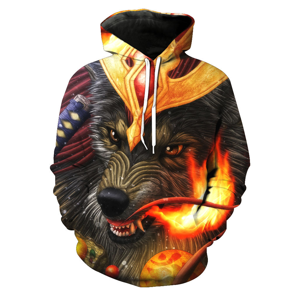 Brand Wolf Sweatshirts Flame Sweatshirt Sexy Hoodie Sweatshirts Male Sweat shirt Men Cool Hoodie Anime Hoody High Quality