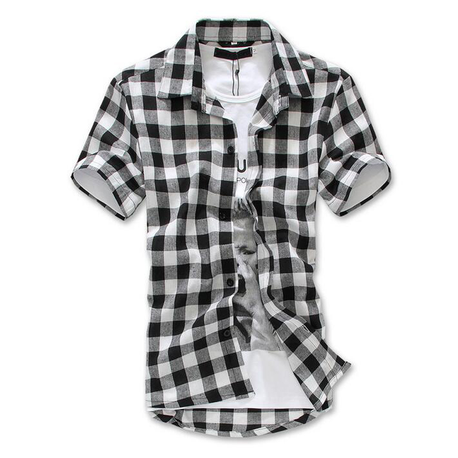 aecfd5e326b9 Fashion Red Black Blue Mens Plaid Shirt Short Sleeve Men Checked Shirt Men  Cotton Mens Shirts Causal Grid Checked Shirt Silm Fit-in Casual Shirts from  Men's ...