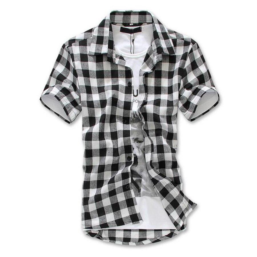 e4ed4e94322 Fashion Red Black Blue Mens Plaid Shirt Short Sleeve Men Checked Shirt Men Cotton  Mens Shirts Causal Grid Checked Shirt Silm Fit-in Casual Shirts from Men s  ...