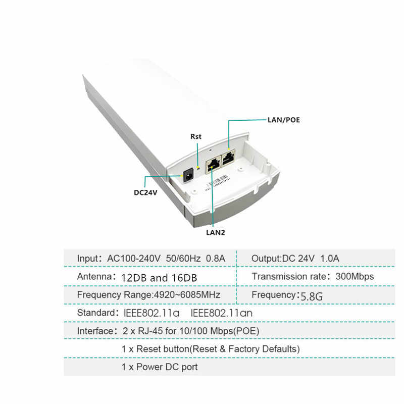 9344 Chipset WIFI Router Repeater Lange Bereik 300 Mbps 5.8G2KM Router CPE APClient Router repeater wifi externe router