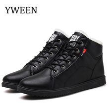 YWEEN New Fashion Men Winter Shoes Solid Color Snow Boots Plush Inside Leather Size 38-45