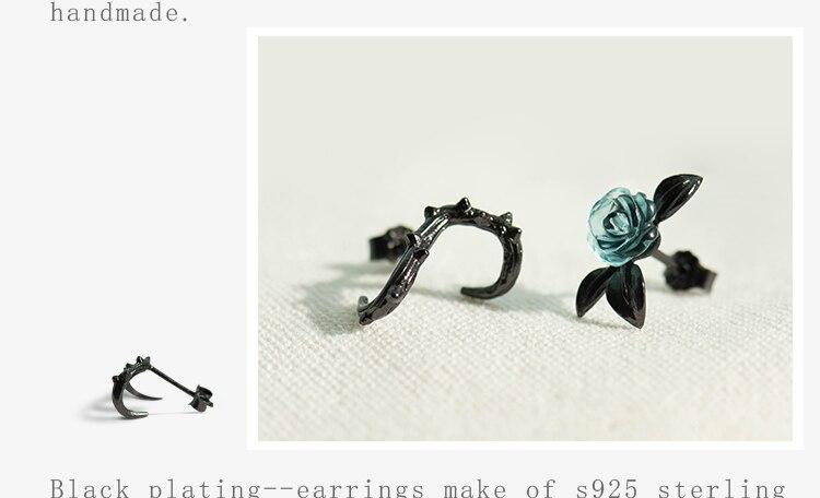 HTB1XjluAZyYBuNkSnfoq6AWgVXam Thaya s925 Silver Thorn Blue Crystal Rose Design Black Stud Earrings for Women Asymmetry Flower Earring Female Jewelry Gift