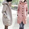 2017 outono e inverno Nova slim com capuz longos e grossos wadded casacos mulheres plus size XXXL 4XL algodão-acolchoado mulheres trenchs das