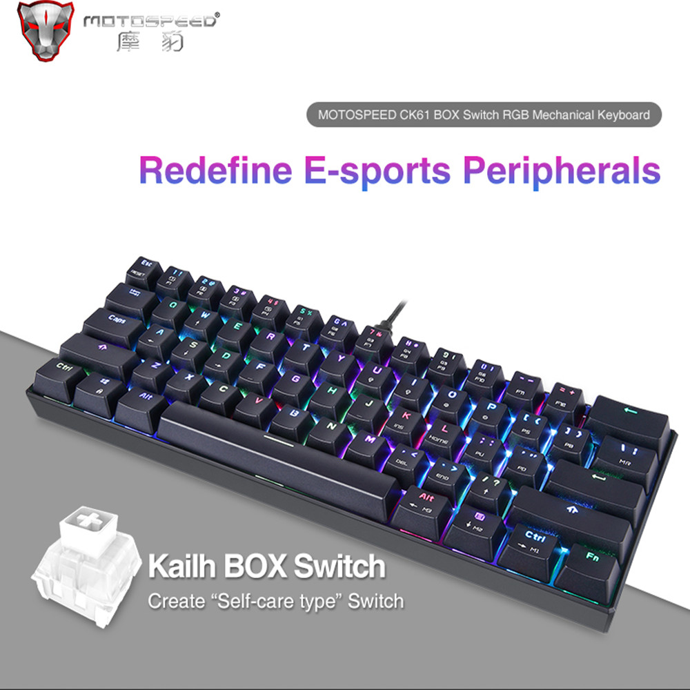 MOTOSPEED CK61 Gaming Keyboard RGB Backlit Mechanical Keyboard With Kailh BOX Switch Anti-Ghosting Keyboard For Gamer PK CK104 mechanical gaming keyboard motospeed k10 aluminium alloy top cover with bicolor injection keycaps keyboard gamer retail package