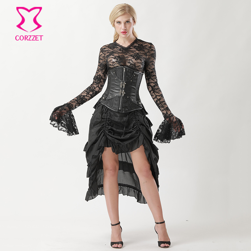 Steel Boned   Corsets   And   Bustiers   Black Underbust   Corset   Steampunk Dress Plus Size Gothic Clothing Women Burlesque Costumes 6XL