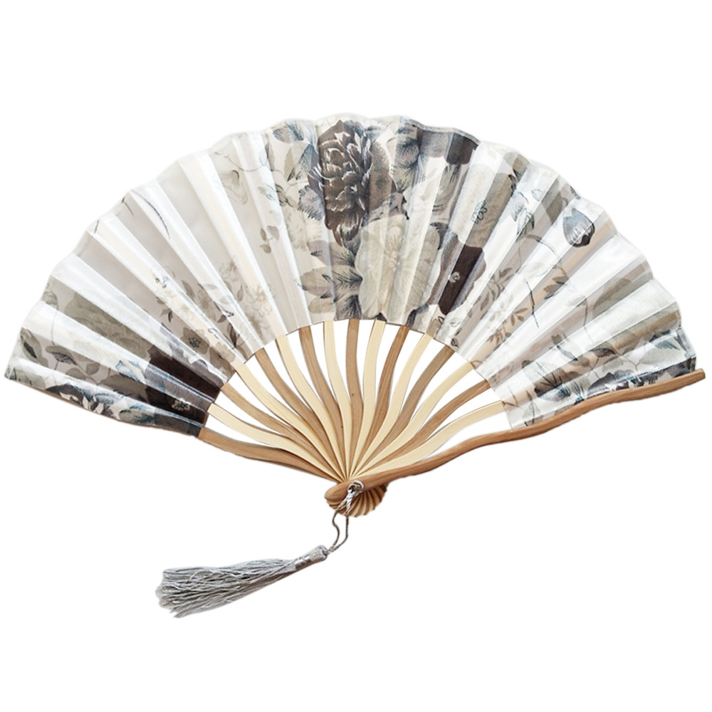 Hand Held Fans Silk Bamboo Folding Fans Handheld Folded Fan Chinese Style For Church Wedding Gift Vintage Home Decor Gift T
