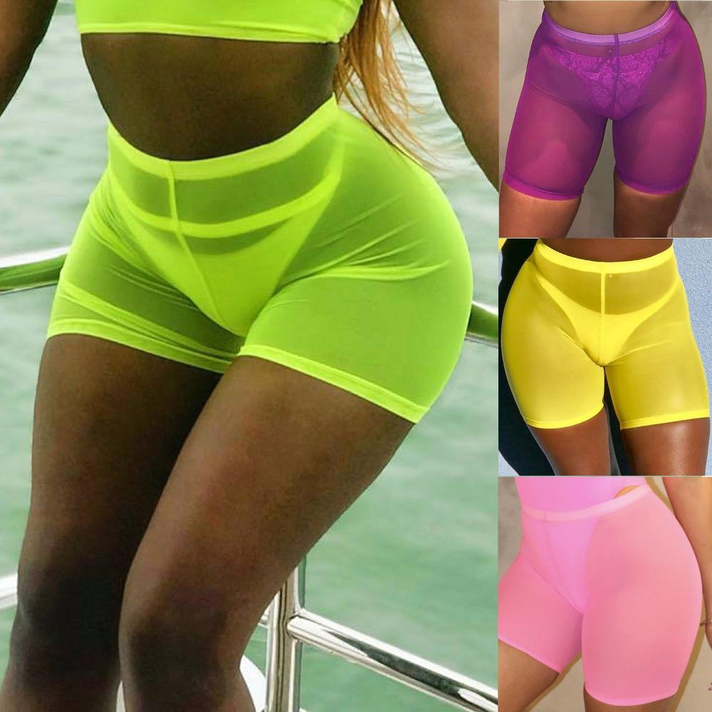 OMSJ New High Waist Women Sexy Neon Green Pink Perspective Mesh Sheer Swim Shorts Bikini Bottom Cover Up Solid Beachwear