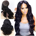 New Arrival  24 Inches Long Wavy Hairstyle Black Color Glueless Lace Front Soft Synthetic Hair Wigs For Black Women