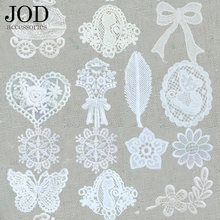 JOD Collar Clothes Patches Lace Applique Skirt Sew on Stickers Decoration Applications Tablecloth White Butterfly Flower(China)