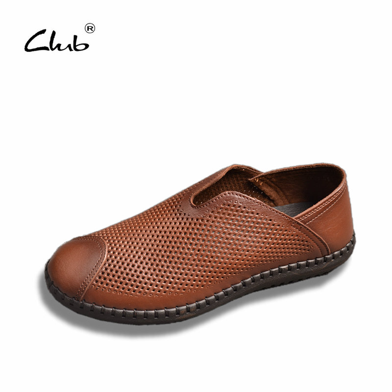 Club 2017 New Breathable Genuine Leather Man Shoes Slip-on Loafers British Shoes Men Casual Shoes Moccasins Zapatillas Hombre cbjsho british style summer men loafers 2017 new casual shoes slip on fashion drivers loafer genuine leather moccasins