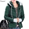 Tangnest mulheres parka quente para baixo casaco de inverno 2017 doce cor de algodão acolchoado jaqueta de marca da mulher slim com capuz quente casaco curto wwm1350