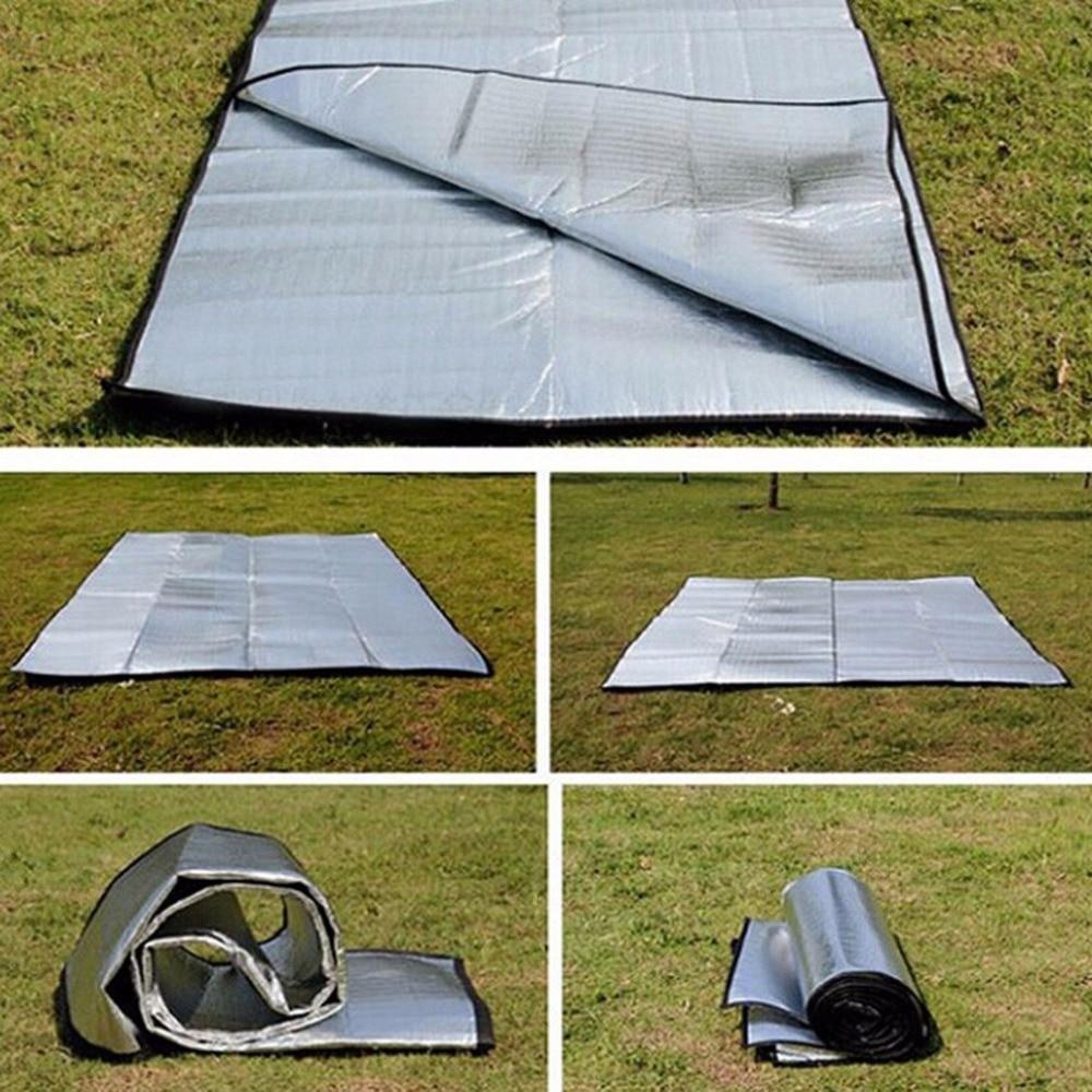 Double Sided Foldable Waterproof Aluminum Foil Mat Portable Outdoor Travel Beach Mat Sleeping Mattress For Camping Hiking NEW