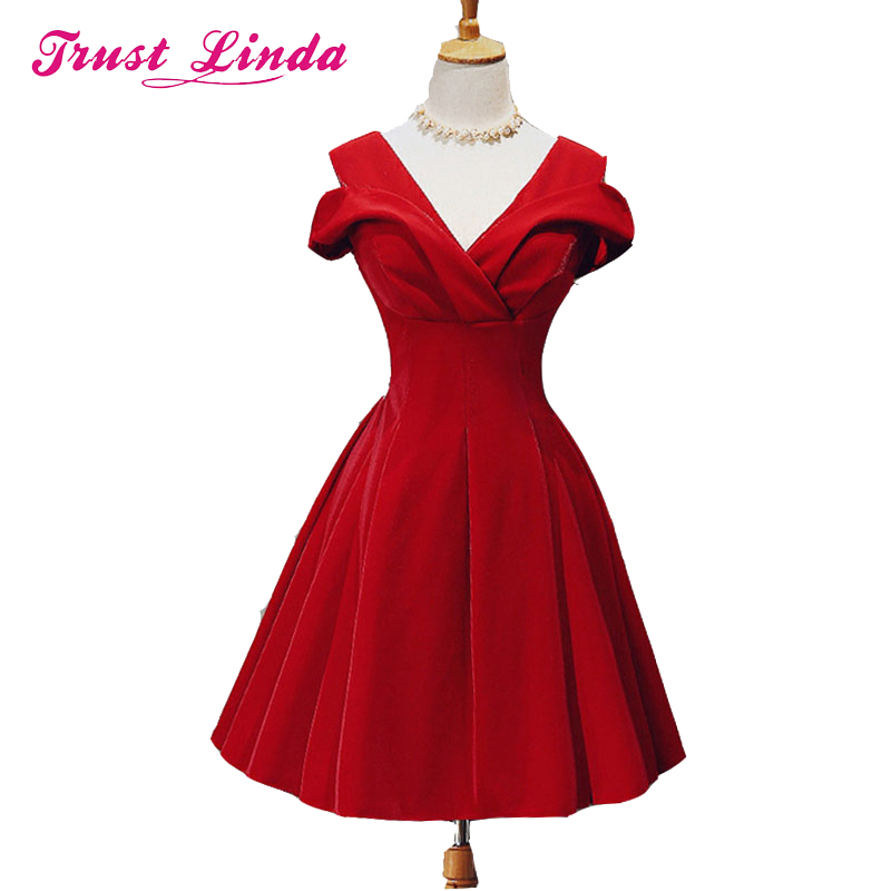 Real sample Red deep V-neck A-line   Bridesmaid     Dresses   2018 new fashion sexy short   dress   prom   dresses   cheaper Bridal party gowns