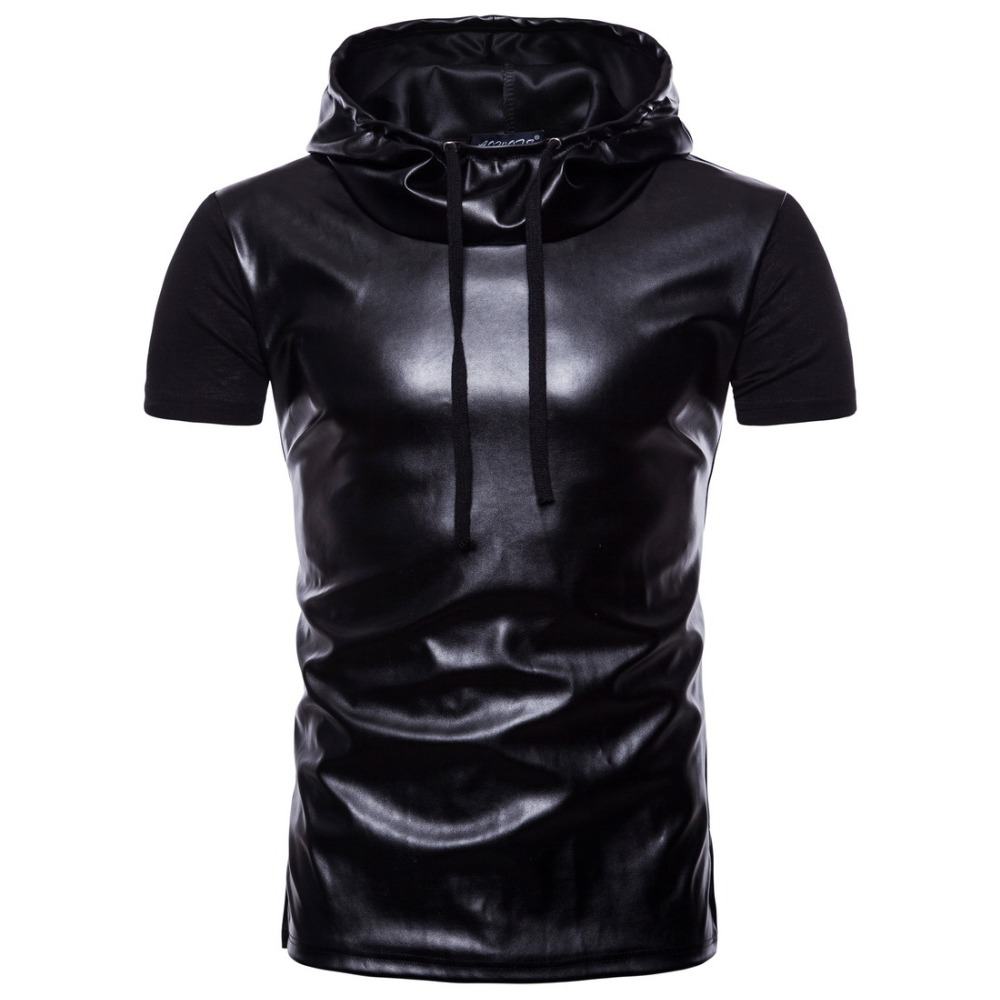 Night Club Hooded T Shirt Men 2018 PU Leather Short Sleeve Mens T-shirts Brand Black Casual Slim Fit Hip Hop Tee Shirt Homme 2XL