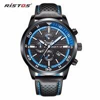 RISTOS Brand Sports Calendar Waterproof Men Watch Fashion Casual Leather Quartz Watches Mens Hodinky Reloj Hombre