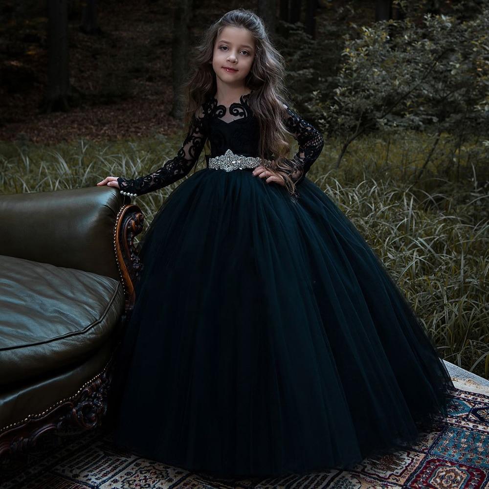 Longues Sleves 2019 robes de demoiselle d'honneur pour les mariages robe de bal Tulle dentelle bleu marine longues robes de première Communion pour les petites filles