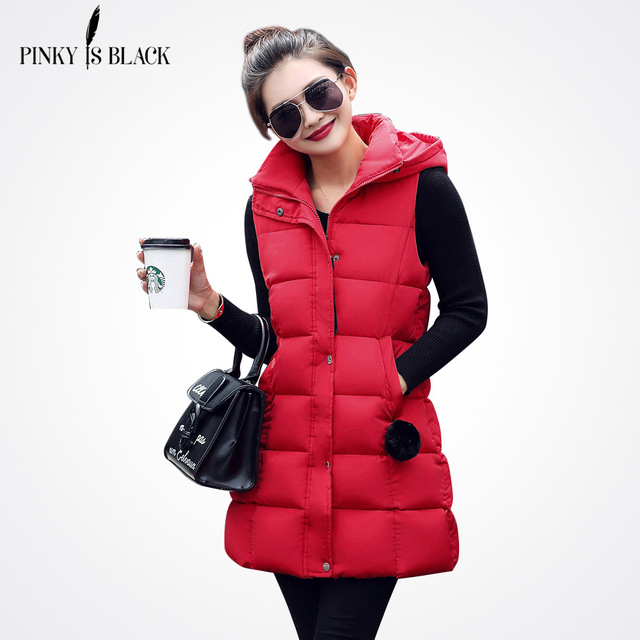 Pinky es negro mujeres invierno chaleco mujer chaleco largo chaqueta sin  mangas con capucha Abrigos de d70d10df1f87