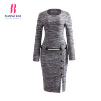 Pullover Dress Woman Knitwear Winter Long Sleeve O Neck Slit Belt Button Decorative Bodycon Dress Bubblekiss