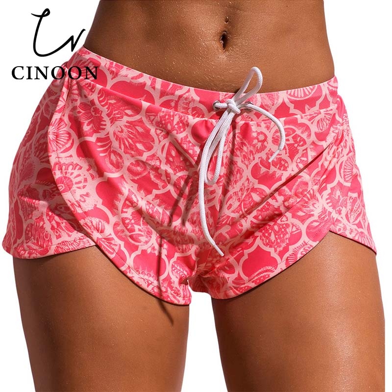 CINOON Floret Printed Swim Shorts Surfing and Diving Quick Dry Shorts Women 2018 new Swimming Water Sports Beach wear