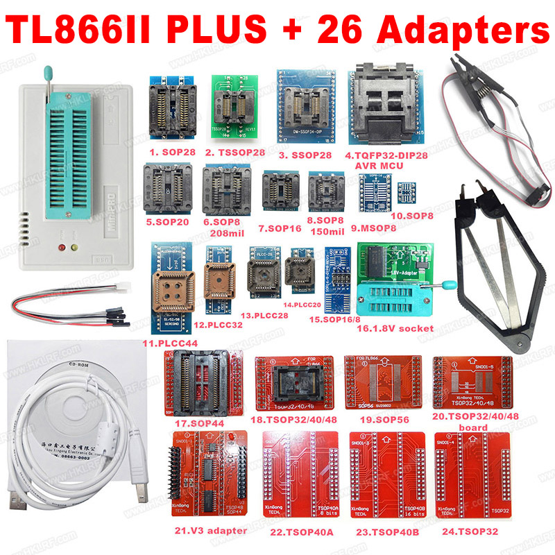 2019 Newest Minipro Nand Programmer TL866ii Plus 26 adapters USB Programmer High Speed with SPI Driver